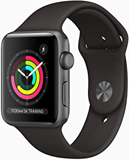 Amazon offers on Mobiles - Apple Watch Series 3 (GPS, 42mm) - Space Grey Aluminium Case with Black Sport Band