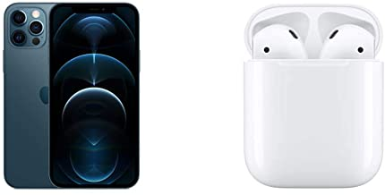 Amazon offers on Mobiles - New Apple iPhone 12 Pro (128GB) - Pacific Blue with AirPods with Charging Case
