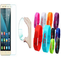 Shopclues offers on Mobiles - Apple iPhone 5C 0.3mm Curved Edge HD Flexible Tempered Glass with Waterproof LED Watch