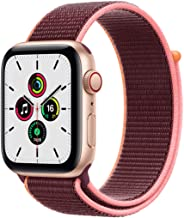Amazon offers on Mobiles - New Apple Watch SE (GPS + Cellular, 44mm) - Gold Aluminium Case with Plum Sport Loop