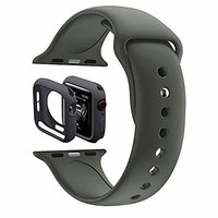 Shopclues offers on Mobiles - House Of Quirk Silicone Band Strap And Shock-Proof Case Cover Bumper Compatible With 42Mm Apple Watch Series 1,2,3 ( Watch Not Included) Dark Grey