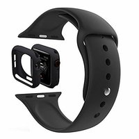 Shopclues offers on Mobiles - House Of Quirk Silicone Band Strap And Shock-Proof Case Cover Bumper Compatible With 42Mm Apple Watch Series 1,2,3 ( Watch Not Included) Black
