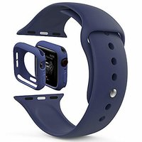 Shopclues offers on Mobiles - House Of Quirk Silicone Band Strap And Shock-Proof Case Cover Bumper Compatible With 42Mm Apple Watch Series 1,2,3 ( Watch Not Included) Dark Blue