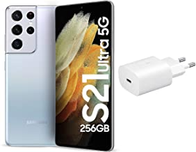 Amazon offers on Mobiles - Samsung Galaxy S21 Ultra 5G (Phantom Silver, 12GB, 256GB Storage) with No Cost EMI/Additional Exchange Offers + Original Samsung 25 W Charger(White)