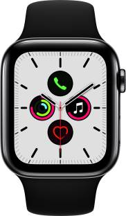 Flipkart offers on Mobiles - APPLE Watch Series 5 GPS + Cellular 44 mm Space Black Stainless Steel Case with Black Sport Band Black Strap, Regular