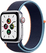 Amazon offers on Mobiles - Apple Watch SE (GPS + Cellular, 40mm) - Silver Aluminium Case with Deep Navy Sport Loop