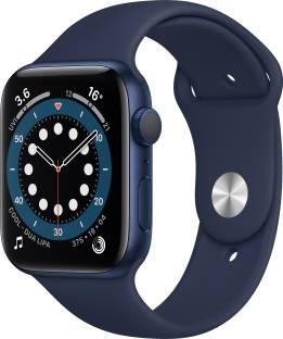 Flipkart offers on Mobiles - APPLE Watch Series 6 GPS 44 mm Blue Aluminium Case with Deep Navy Sport Band Blue Strap, Regular