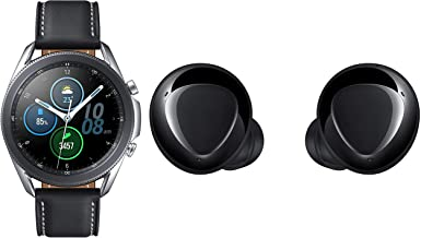 Amazon offers on Mobiles - Samsung Galaxy Watch 3 45mm Bluetooth (Mystic Silver),SM-R840NZSAINS with Buds+