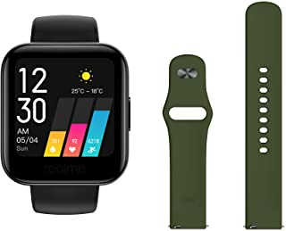 Amazon offers on Mobiles - Realme Classic Watch (Black) + Additional Fashion Strap (Green)