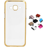 Shopclues offers on Mobiles - Electroplated Golden Chrome Soft TPU Cover with Micro USB OTG Adaptor for Samsung Galaxy On8