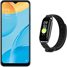 """Amazon offers on Mobiles - OPPO A15 (Mystery Blue, 2GB RAM, 32GB Storage) + OPPO Smart Band Style (Black) - 1.1"""" AMOLED Color Display, SPO2 Monitoring, 5 ATM, 12 Workout Modes"""