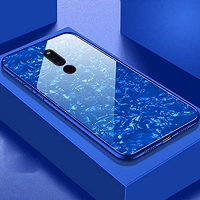 Shopclues offers on Mobiles - Innotek 2-in-1 Soft Bumper TPU Protective Frame with 9H High-Hardness Luxury Gloss Marble Pattern For Oppo F11 PRO Blue