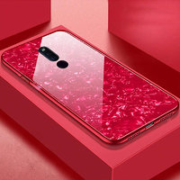 Shopclues offers on Mobiles - Innotek 2-in-1 Soft Bumper TPU Protective Frame with 9H High-Hardness Luxury Gloss Marble Pattern For Oppo F11 PRO Red