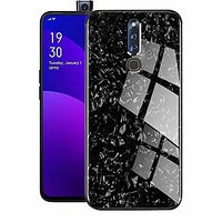 Shopclues offers on Mobiles - Innotek 2-in-1 Soft Bumper TPU Protective Frame with 9H High-Hardness Luxury Gloss Marble Pattern For Oppo F11 PRO Black