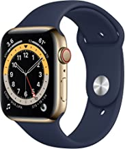 Amazon offers on Mobiles - New Apple Watch Series 6 (GPS + Cellular, 44mm) - Gold Stainless Steel Case with Deep Navy Sport Band