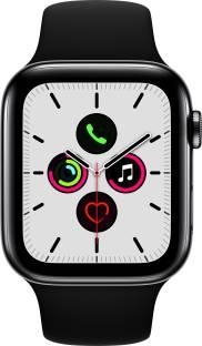 Flipkart offers on Mobiles - APPLE Watch Series 5 GPS + Cellular 44 mm Space Black Stainless Steel Case with Black Sport Band Black Strap, Regular