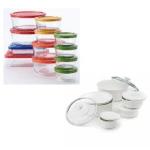 Pyrex 24 Piece Storage Set with Color Lids + CorningWare 11 Piece Serveware Set