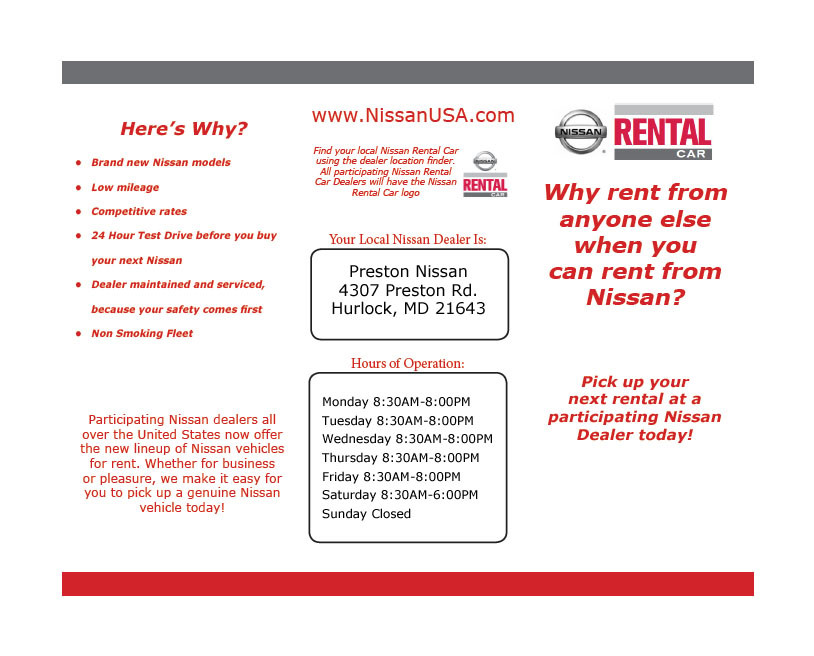 All Our Rental Vehicles Will Be Sold At Our Dealerships As Certified  Pre Owned Nissan Vehicles.