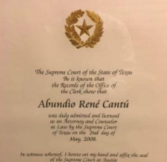Law license document for Abundio Rene Cantu