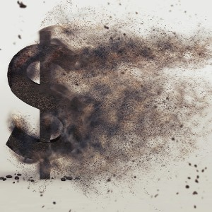 Disappearing Dollar Sign Written in Ink