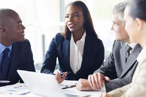 Business meeting between 4 people