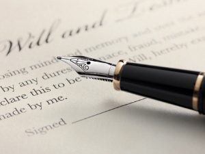 Will and trust document with pen