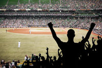 Fans celebrating in a baseball stadium