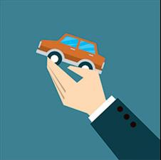 Graphic of a person in a suit holding up a small car