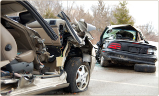 Two totalled cars
