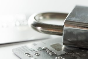 lock on top of credit card