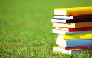 stack of colorful books on grass