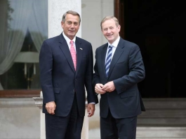 House Speaker Rep. John Boehner and Taoiseach Enda Kenny dressed in suits and smiling for photo