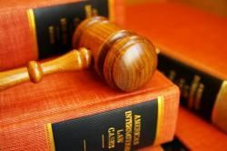 Gavel on top of law books