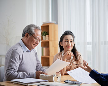 Older couple going over documents