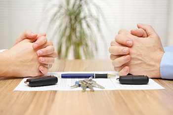 Couple working on the division of assets during the divorce process