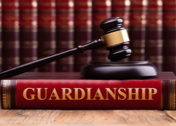 Guardianship Book with Gavel on Top
