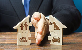 Man halving a house puzzel with children, pets, money, and a car on it