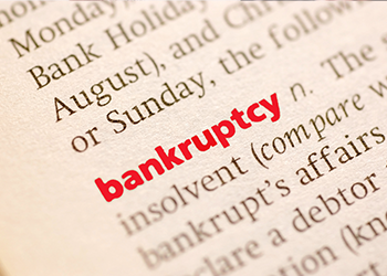 Bankruptcy entry in a dictonary