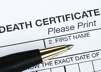Death Certificate with Pen