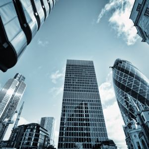 looking up at city