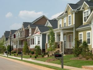 Rows of two story homes