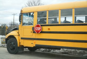 Close up of a yellow schoolbus