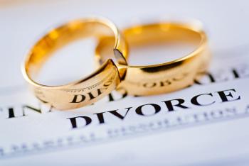 "wedding rings next to ""divorce"""