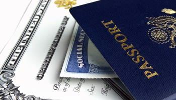 Social security card inside of a passport