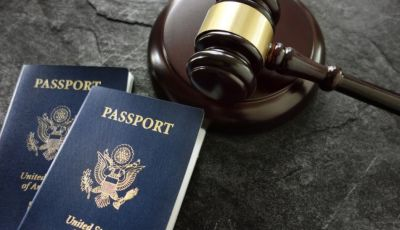 Gavel near two passports