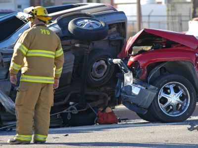Firefighter at the scene of a car accident