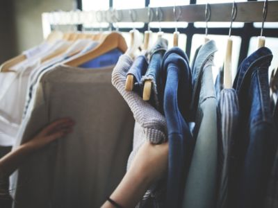 Someone going through clothes
