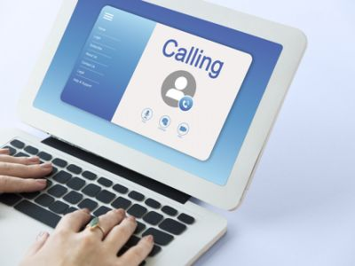 Laptop receiving video call