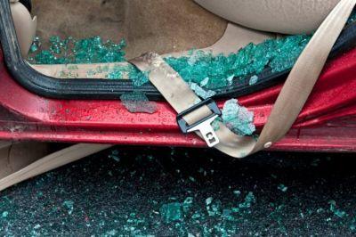 Car with broken class inside