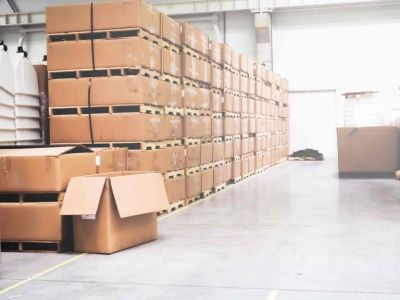 Rows of cardboard boxes stacked on top of each other